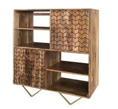 Retro Style Light Mango Wood Bookcase / Storage Cabinet with brushed brass effect iron legs