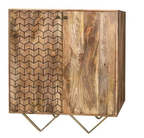 retro style two door light mango wood sideboard storage cabinet