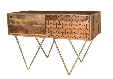 Retro style Light mango wood r console table with brushed brass style iron legs