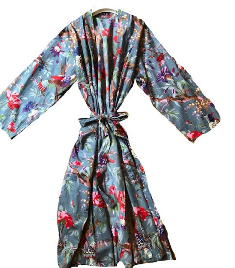 birds of paradise kimono dressing gown robe in light blue