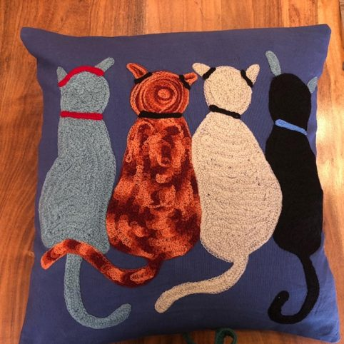 hand embroidered cat cushion
