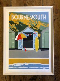 Bournemouth seafront beach hut vintage print