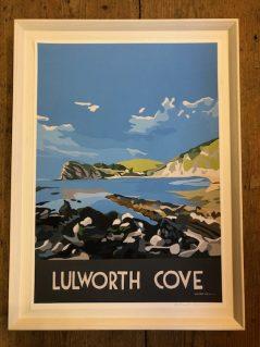 vintage style Lulworth Cove framed print from Dorset artist