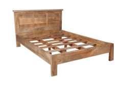 Solid Light Mango Wood Bed Frame and Headboard