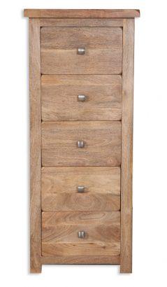 solid light mango wood 5 drawer unit