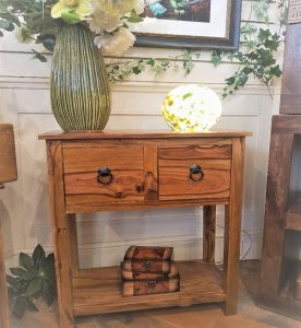 sheesham hallway console table with 2 drawers and 1 shelf